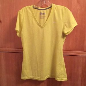 Nike neon yellow dry fit top